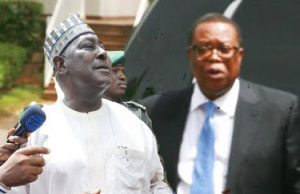 Sacked duo: Secretary to the Government of the Federation, SGF, Mr. Babachir David Lawal and the Director General, National Intelligence Agency (NIA), Ambassador Ayo Oke.