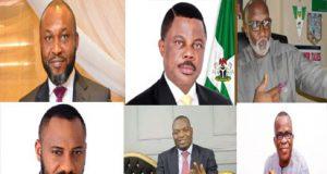From top L-R: Chidoka- UPP; Obiano - APGA; Obaze - PDP; Edochie - DPC; Nwoye - APC & Ezeemo - PPA