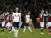 Tottenham Hotspur's English striker Harry Kane (3rd L) reacts to their defeat on the pitch after the English Premier League football match between West Ham United and Tottenham Hotspur at The London Stadium, in east London on May 5, 2017. West Ham won the game 1-0. / AFP PHOTO