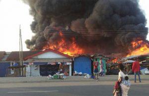 Fire razes shops in market
