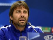 Chelsea's coach from Italy Antonio Conte attends a press conference in Baku on November 21, 2017 on the eve of the UEFA Champions League Group C football match between Qarabag FK and Chelsea FC. / AFP PHOTO