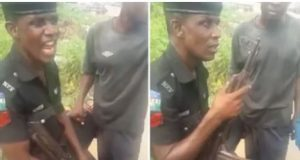 Policeman caught on tape insisting he'll collect more than N100 bribe from Okada man