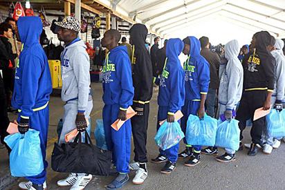 File: Some Nigerian voluntary returnees from Libya on arrival at the Murtala Muhammed International Airport, Lagos