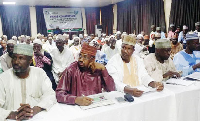 From Middle: The National President of the Miyetti Allah Cattle Breeders Association of Nigeria (MACBAN) flanked by the National Secretary, Alhaji Baba Ngelzarma, and other members of the association at a press briefing on the position of the association to stem farmers-herdsmen clashes in Abuja on Sunday.
