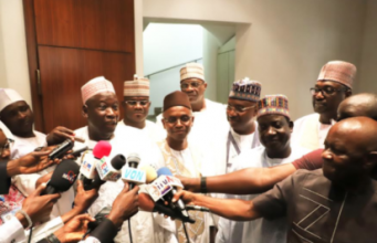Governor Abdullahi Ganduje of Kano State; Governor Yahya Belo of Kogi State; Governor Nasir El-Rufai of Kaduna State; Governor Ibrahim Gaidam of Yobe State; Governor Jibrila Bindo of Adamawa State; Governor Simon Dalong of Plateau State and Governor Mohammed Belo of Niger State briefing journalists after the seven APC Governors met with President Muhammadu Buhari on the 2019 Presidential Elections at the State House, Abuja. Photo by Abayomi Adeshida 12/01/2018
