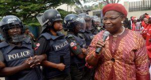 Oby Ezekwesili during a BBOG protest