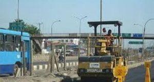Ongoing repair work on the Apapa wharf roads in Lagos