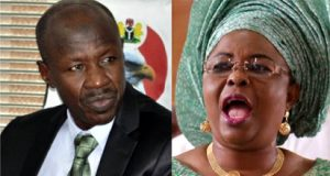 Ex-First Lady, Mrs. Patience Jonathan and the acting chairman, EFCC, Ibrahim Magu