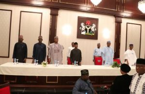 President Muhammadu Buhari, his Vice, Prof. Yemi Osinbajo; the President of the 8th Senate, Dr. Bukola Saraki, the National Chairman of the All Progressives Congress, APC, Chief John Odigie-Oyegun, APC governors and other party members are currently holding the party's caucus meeting at the presidential Villa, Abuja.