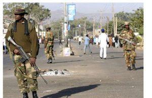 Nigerian soldiers on patrol in Jos ahead of Buhari's visit