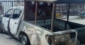 A security patrol vehicle burnt during the Offa robbery incident in Kwara State on April 5, 2018.
