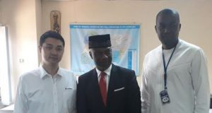 CEO, StarTimes Nigeria, Mr. Justin Zhang; Country Director, The Joint UN Programme on HIV/AIDS (UNAIDS), Dr. Erasmus Morah and Chief Operating Officer, StarTimes Nigeria, Mr. Tunde Aina during a courtesy call by StarTimes to the UNAIDS office in Abuja.