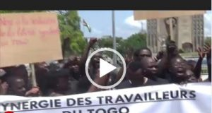 Video: Politicians flee as trade union protest alleged President Faure's anti labour policies in Togo