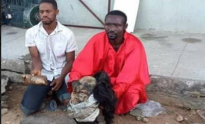 Fake pastor(on red) with his accomplice who raped, killed and again had sex with corpse of commercial sex worker, Mercy