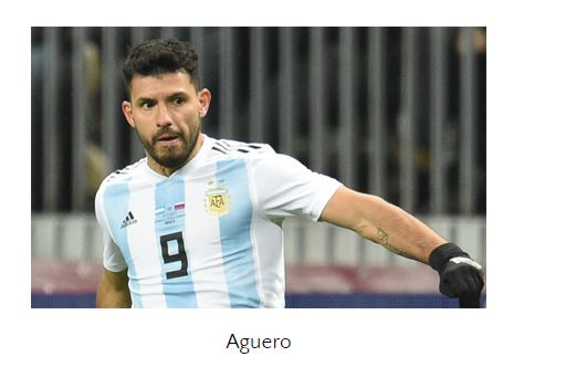 Argentine striker Sergio Aguero