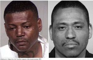Melvin Harris (L) kills Leon Armstrong (R)