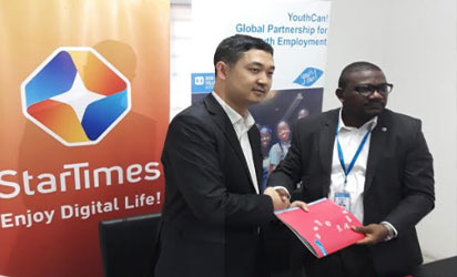 L-R: CEO, StarTimes Nigeria, Justin Zhang & National Director, SOS Children's Villages Nigeria, Eghosa Erhumwumse, during an MoU signing ceremony in Abuja.