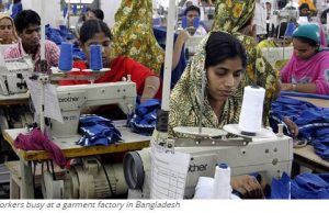 Workers busy at a garment factory in Bangladesh
