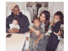 American reality TV star, Kim Kardashian, her husband; Kanye West and kids