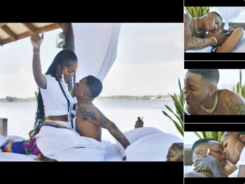 Stew for Tbillz as fans react to Wizkid, Tiwa steamy music video