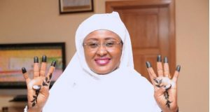 Aisha Buhari strikes 4+4 pose
