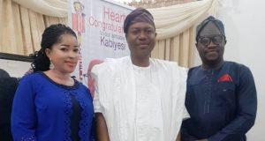 Dr Thomas-Wilson Ikubese, his wife, Mrs Abiola Ikubese and Olowo of Owo-elect, Prince Ajibade Gbadegesin Ogunye(middle)