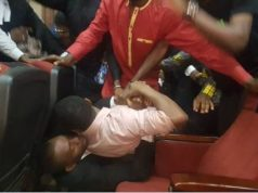 Sowore being rough-handled by DSS official while in Abuja court