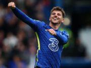 Chelsea midfielder Mason Mount celebrates after scoring against Norwich City